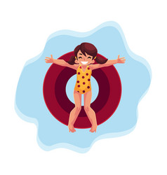 Happy teenage girl with ponytails swimming on vector
