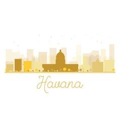 Havana city skyline golden silhouette vector