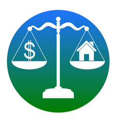 House and dollar symbol on scales white vector