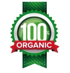 Hundred percent organic green ribbon vector image