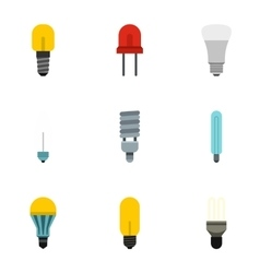 Lamp icons set flat style vector image