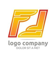 Letter f alphabet orange company foot design vector