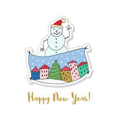 Merry christmas and a happy new year cartoon card vector