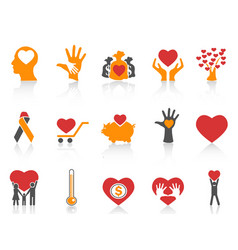 orange color charity icons set vector image