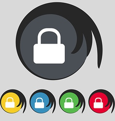 Pad lock icon sign symbol on five colored buttons vector