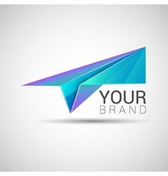 Paper plane logo design purple turquoise color vector