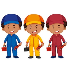 Plumbers in different color uniform vector image