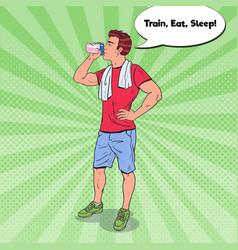 pop art bodybuilder drinking protein shake vector image vector image