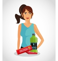 Protein supplement and avatar woman design vector