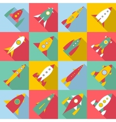 Rocket launch icons set flat style vector