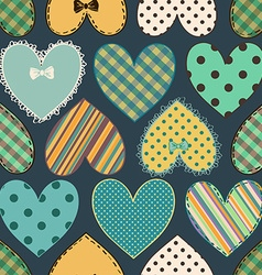 Seamless pattern of scrapbook hearts vector image vector image