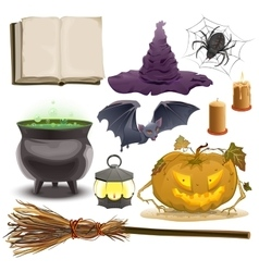 Set halloween objects accessories pumpkin vector