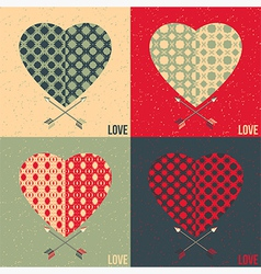 Set of 4 love cards Heart and arrow vector image