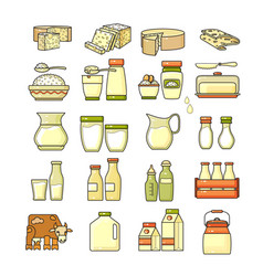 Set of flat design cute colorful dairy icon vector