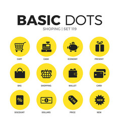 shoping flat icons set vector image