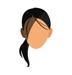 silhouette face girl cartoon shadow vector image vector image