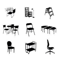 silhouettes of furniture set black color vector image vector image