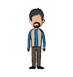 standing man character people casual clothes vector image