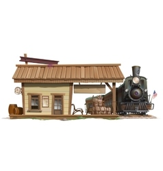 Station and vintage train in american style vector