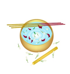 Water bowl with joss sticks and candle vector