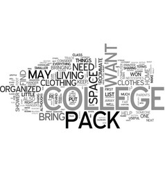 What to pack for college part one text word cloud vector