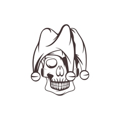 skull in jester cap design template vector image