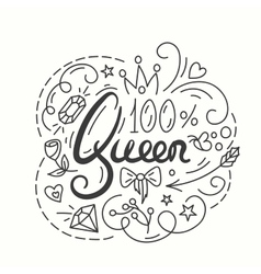 Queen typography design lettering print for t vector