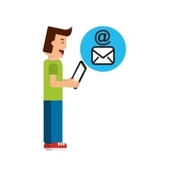 Character boy with tablet email mail vector