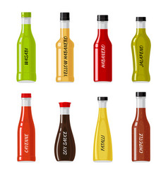 set of glass bottles full of hot sauces vector image