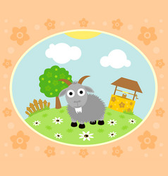 farm background with funny goat vector image