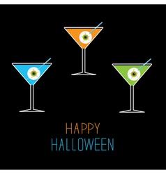 Martini set Happy Halloween card vector image