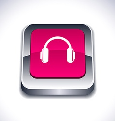 Headphones 3d button vector