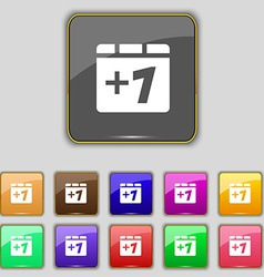 Plus one add one icon sign set with eleven colored vector