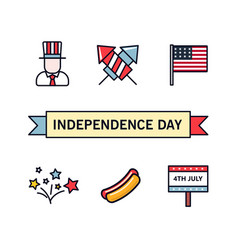4th july patriotic icons independence day of vector
