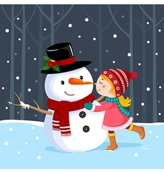 Cute girl kissing a snowman vector