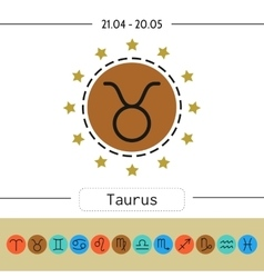 Taurus set of simple zodiac icons for horoscopes vector