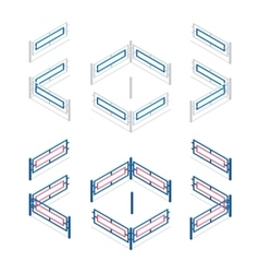 Metal fence flat 3d isometric vector