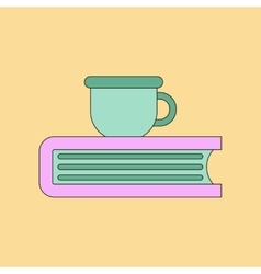 Flat icon thin lines book cup vector