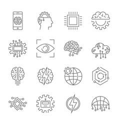 artificial intelligence icon set editable stroke vector image