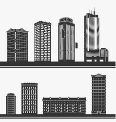 Building and skyscrapers silhouette set vector