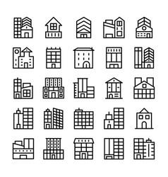 Buildings landmarks line icons 7 vector