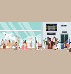 busy airport scene with plane and vector image