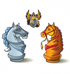 chess set knights vector image vector image