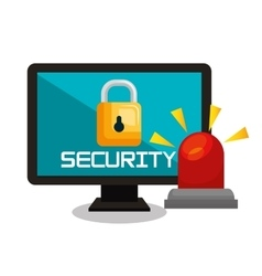 computer security data base lock vector image