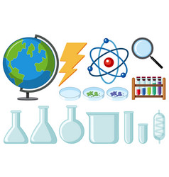 Different types of science equipments vector