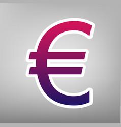 Euro sign purple gradient icon on white vector