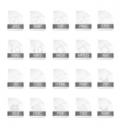 File format icons vector