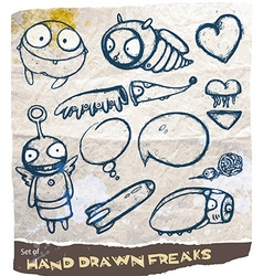 Hand drawn freak set vector