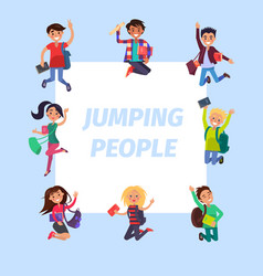 happy young jumping people banner vector image
