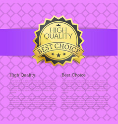 high quality approved best choice gold label text vector image